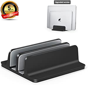 Vertical Laptop Stand [Dock Version] - Adjustable Dual Slot Aluminum Desktop Holder - for All MacBook/Chromebook/Surface/Dell/iPad Up to 17.5 Inches - Black