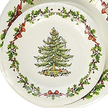 16 Ct Spode Christmas Tree Dessert / Luncheon Paper Plates 7.75u0026quot; Holiday Party Snack  sc 1 st  Amazon.com & Amazon.com: 16 Ct Spode Christmas Tree Dessert / Luncheon Paper ...
