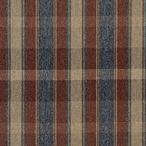 - C644 Rustic Red Blue Green and Beige Large Plaid Country Style Upholstery Fabric by The Yard