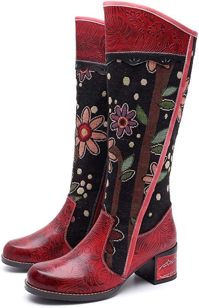 CrazycatZ Womens Bohemian Knee High Boots Leather Flat Long Bootie Splicing Pattern Tall Boots Block Heel Red