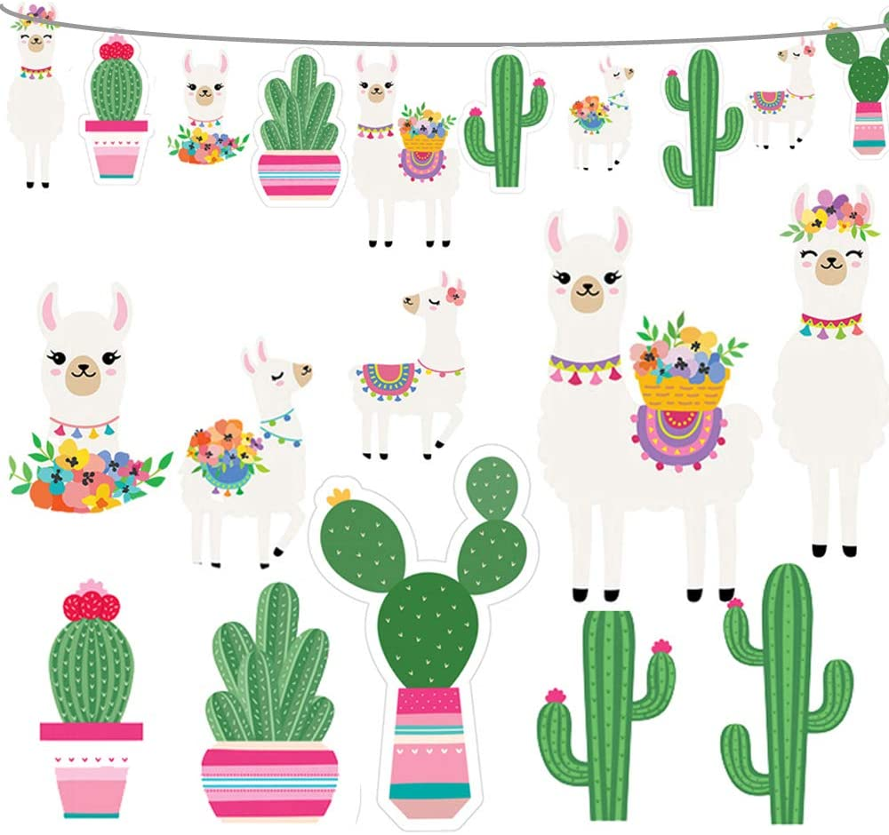 2020 Llama Cactus Banner Garland Party Supplies, Llama Cactus Themed Birthday Party Decorations for Mexican Fiesta, Cino De Mayo Llama Cactus Baby Shower, Hawaiian, Luau, Classroom Decorations - 5 Llamas and 5 Cactus
