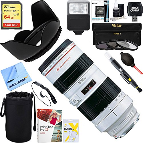 Canon (2569A004) EF 70-200mm F/2.8L USM Lens + 64GB Ultimate Filter & Flash Photography (Canon Extender Set)