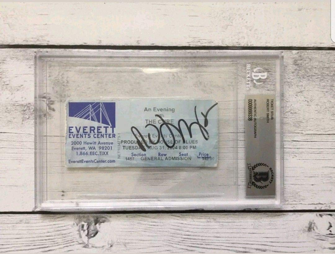 Robert Smith The Cure Autographed Signed Ticket Stub Beckett Authentic BGS Encapsulated Slabbed A