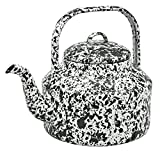 Enamelware Tea Kettle - Black Marble