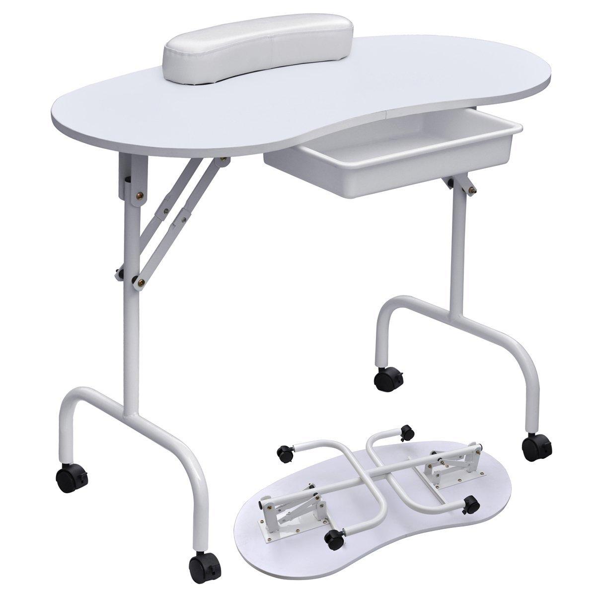 Amazon.com: Foldable u0026 Portable Manicure Table Nail Technician Desk  Workstation, White: Kitchen u0026 Dining