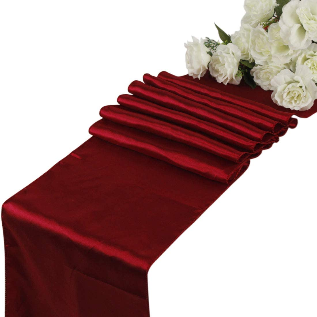 mds Pack of 5 Wedding 12 x 108 inch Satin Table Runner for Wedding Banquet Decoration- Apple Red