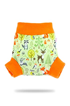 Washable Diaper Wrap Reusable Cloth Nappies Yellow Petit Lulu Pull Up Cloth Nappy Cover Made in Europe Rainbow Size M