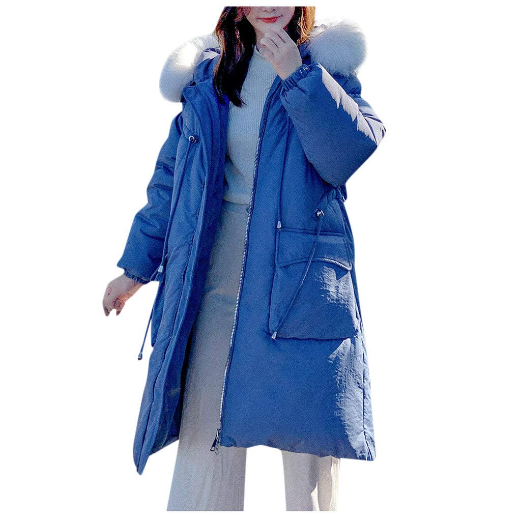Fashionhe Women Outerwear Faux Hooded Button Coat Long Solid Color Jackets Pocket Coats Winter Warm Overcoat(Blue.M) by Fashionhe