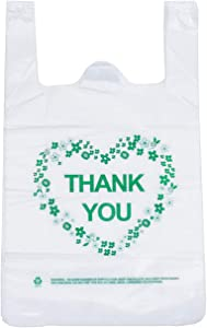 LazyMe Thank You T Shirt Bags Plastic Grocery Bags White Sturdy Handled Merchandise Bags,Standard Supermarket Size, 12 x 20 inch (50 pcs)