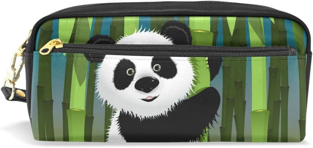 COOSUN Panda Curiosa portátil de Cuero de la PU Caja de lápiz de la Pluma de la Escuela Bolsas Bolsa de la Caja Fija de Gran Capacidad Maquillaje Bolsa cosmética Grande