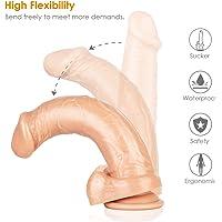 Aster Dildo Réaliste Massagee 22,5cm en Silicone Médicale avec Ventouse Forte, Godemichet Realiste Pénis Impermeable et Flexible