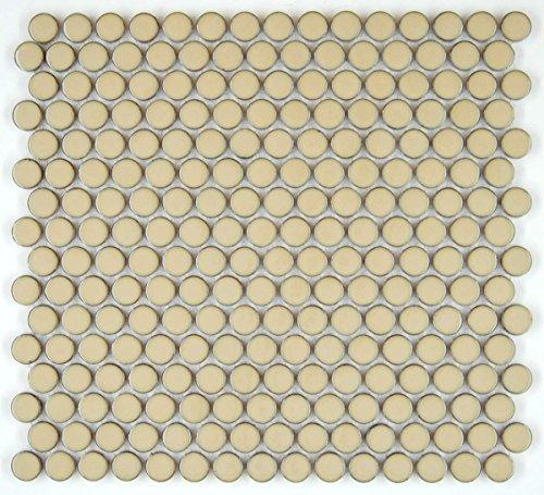 Vogue Tile Penny Round Vintage Coffee Brown Porcelain Mosaic for Bathroom Floors and Walls, Kitchen Backsplashes, Pool Tile (Vintage Tile Ceramic)