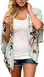 44c6cee6149f Plus Size Clothing for Women Sheer Chiffon Blouse 3 4 Sleeve Floral Kimono  Cardigan Loose