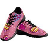INTERESTPRINT Multicolor Hearts Women's Sport Road Running Shoes Breathable Sneakers