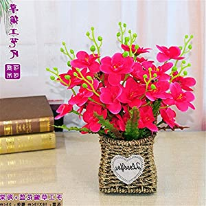 SituMi Artificial Fake Flowers Rattan flower baskets silk flower home decor,red begonia 34