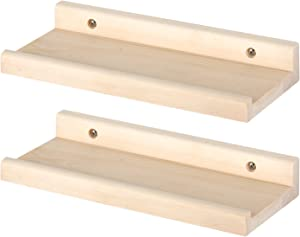YOYAI Set of 2 Natural Pine Rustic Wood Wall Shelf Floating Shelves Wall Mounted Wooden Wall Organizer Home Decor Living Room Kitchen Bedroom (30cm)