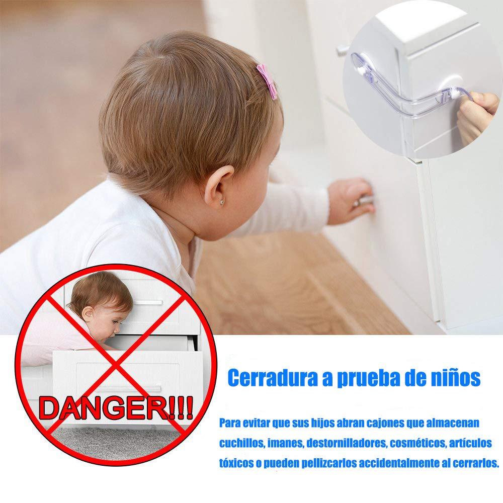 Cerraduras de Seguridad para Niños, Bloqueo de Seguridad Bebés, Cierres para Armarios, WC, Cocinas, Puertas y Ventanas, Nevera, 6 Pieza, Transparente