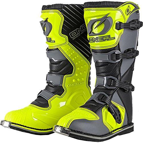 0329-9101 - Oneal Rider EU Motocross Boots 44 Gray Hi-Viz (UK 9.5)