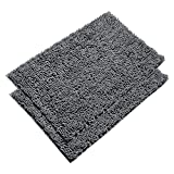 VDOMUS Absorbent Microfiber Bath Mat Soft Shaggy Bathroom Mats Shower Rugs - 2 Pieces (Gray)