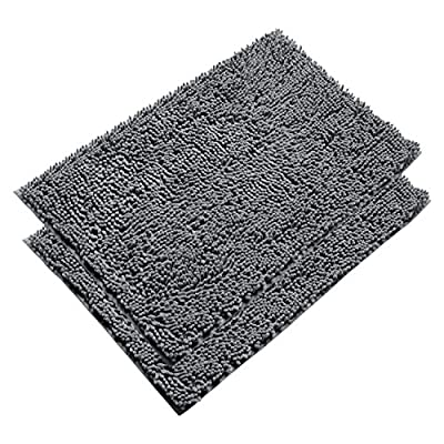 Vdomus Absorbent Microfiber Bath Mat Soft Shaggy Bathroom Mats Shower Rugs (Grey) - [Top Selling Bath Rugs from VDOMUS] - This bathroom rugs set is just what you need to protect your feet from the cold floor as well as your bathroom floor. With the available large sizes (20 x 32 inches) and 4 colors, you are sure to find one to suit your style. Perfect for bathrooms, toilet, shower, floor, kitchen. Also your pets will love it maybe. [Super Soft and Dries Quickly] The chenille fabric microfiber bathroom rug is designed to quickly absorb water, keeping your bathroom floors dry and clean. The mat's construction, with thousands of individual microfiber shags, allow the water held in the mat to dry quickly, leaving the mat smelling and feeling clean, dry. The Sturdy design will keep the mat looking the same even after you just got out of the shower. [Anti-Skid Latex Backing] Features a non-skid, keeps the bath rug in place, even when wet. The durable non-slip backing will not fade, keeping the mat in place for years. The non-slip backing provides added piece of mind when used with children/kids or elders, keeping wet feet off of slipper tile and off of a slippery bathroom rug. - bathroom-linens, bathroom, bath-mats - 61nNcE94PnL. SS400  -
