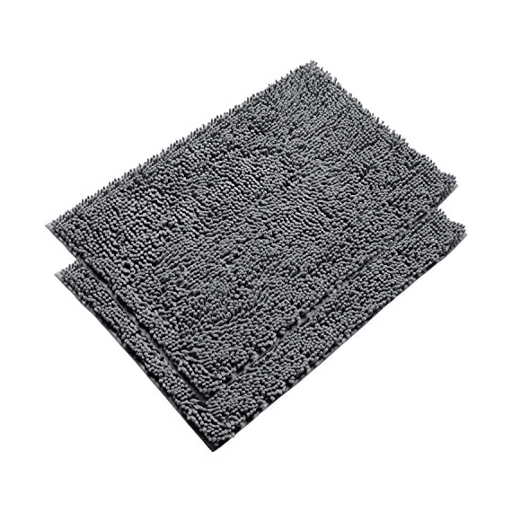 Vdomus Absorbent Microfiber Bath Mat Soft Shaggy Bathroom Mats Shower Rugs (Grey) - [Top Selling Bath Rugs from VDOMUS] - This bathroom rugs set is just what you need to protect your feet from the cold floor as well as your bathroom floor. With the available large sizes (20 x 32 inches) and 4 colors, you are sure to find one to suit your style. Perfect for bathrooms, toilet, shower, floor, kitchen. Also your pets will love it maybe. [Super Soft and Dries Quickly] The chenille fabric microfiber bathroom rug is designed to quickly absorb water, keeping your bathroom floors dry and clean. The mat's construction, with thousands of individual microfiber shags, allow the water held in the mat to dry quickly, leaving the mat smelling and feeling clean, dry. The Sturdy design will keep the mat looking the same even after you just got out of the shower. [Anti-Skid Latex Backing] Features a non-skid, keeps the bath rug in place, even when wet. The durable non-slip backing will not fade, keeping the mat in place for years. The non-slip backing provides added piece of mind when used with children/kids or elders, keeping wet feet off of slipper tile and off of a slippery bathroom rug. - bathroom-linens, bathroom, bath-mats - 61nNcE94PnL. SS570  -