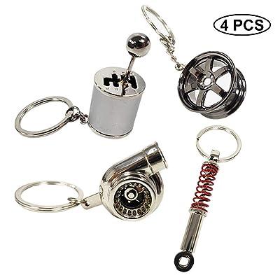 Ispeedytech 4 Auto Part Model Metal Keychain/Key Ring/Holder Set- Wheel Rim Tyre,Spinning Turbo, Six Speed Manual Transmission Shift, Spring Shock Absorber Keychain: Automotive