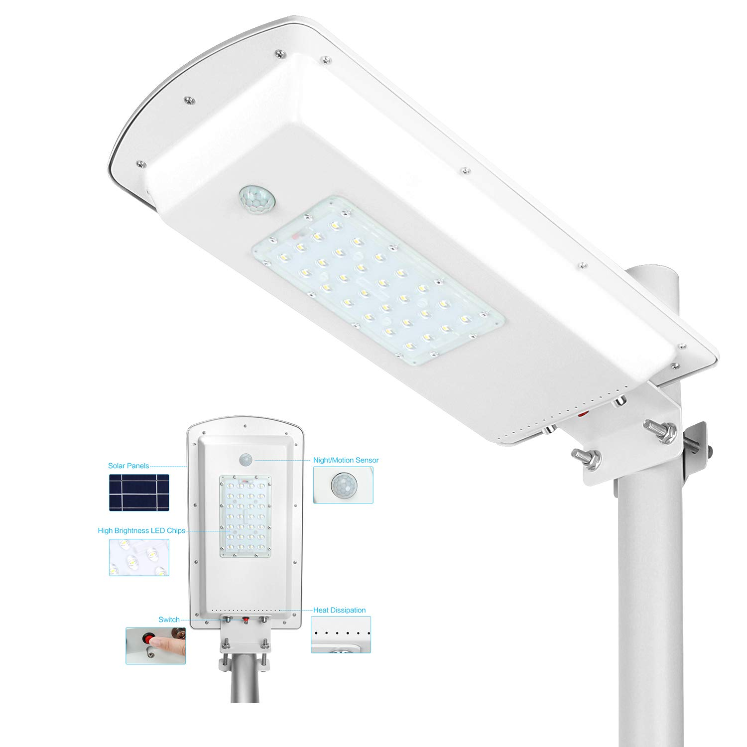 TENKOO Solar Powered Street Light Dusk to Dawn, Lithium Battery -Wireless-Waterproof IP65-Light/Motion Sensor Commercial or Industrial Grade Security Street Lights Perfect for Outdoor Lighting Area