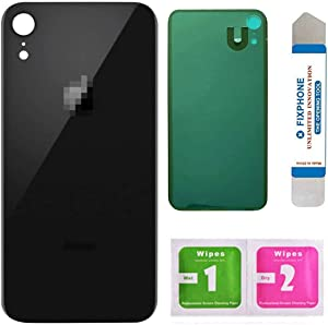 Afeax Back Cover Glass Replacement for iPhone XR 6.1 Inches All Carriers with Pre-Installed Adhesive and Repair Tool Kits (Black)