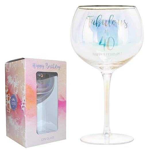 Vaso de cristal para ginebra de cumpleaños con texto ...
