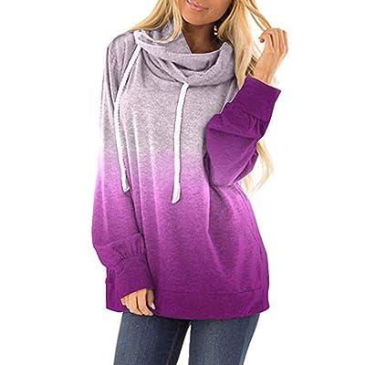 Lloopyting Womens Casual Hooded Contrast Hoodies Long Sleeve Print Sweater Sweatshirt Loose Drawstring Pullover Hoodies: Clothing