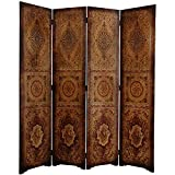 Wood and Faux Leather 6-foot Olde-Worlde Parlor Room Divider (China)