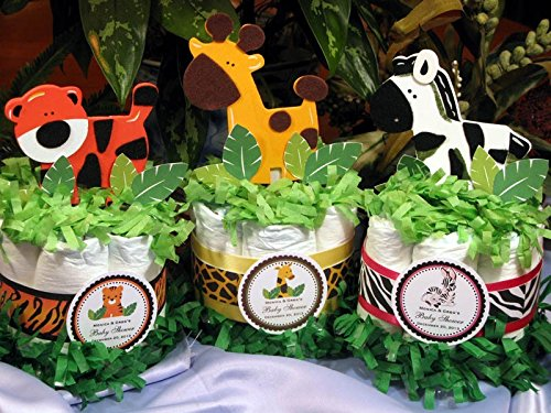 Wild Jungle Safari Mini Diaper Cakes - Handmade By LMK Gifts - Gift For Boy or Girl - Makes a Great Baby Shower Centerpiece