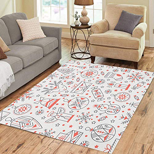 Pinbeam Area Rug Christmas Outlined Holiday and Winter Signs Black Red Home Decor Floor Rug 3' x 5' Carpet ()