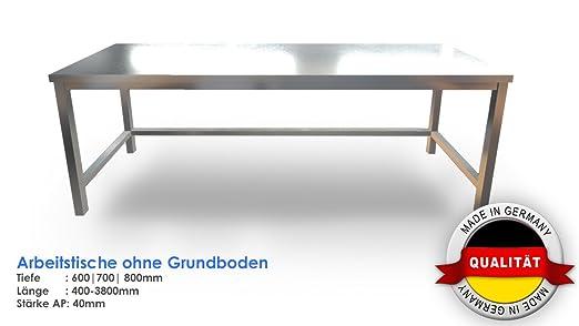 Mesa de trabajo, acero inoxidable 1.4301, fabricado en Alemania ...