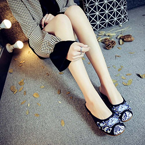 ZTL Casual Floral Slippers Shoes Embroidery Slip Backless Womens On a1xrqa