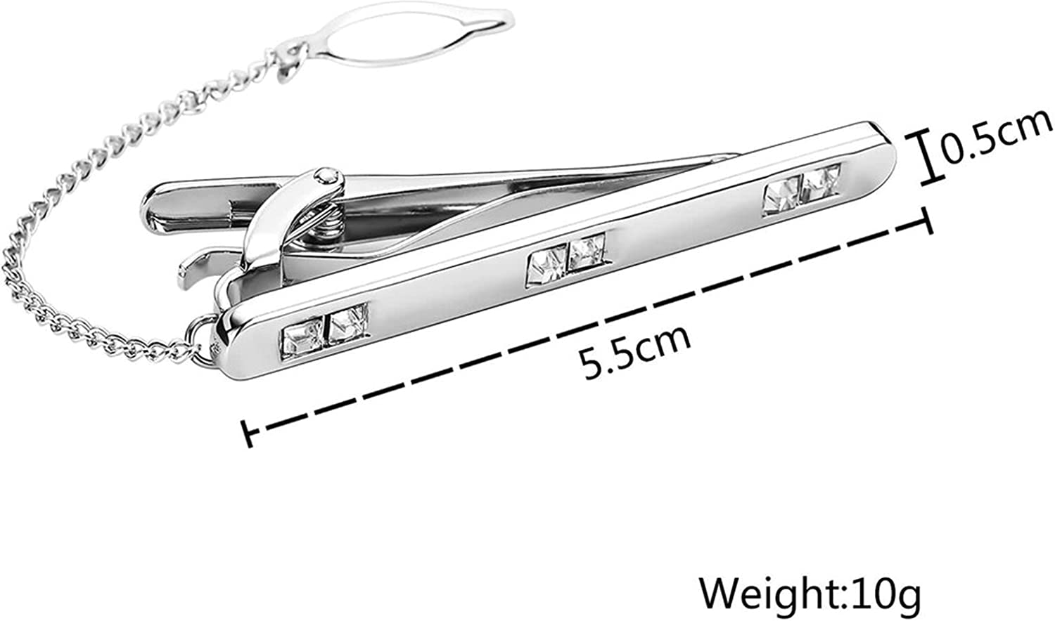 Aooaz Men Stainless Steel Mens Tie Clip with Chain White Crystal Silver Tie Pin Shirt 0.6X5.5CM