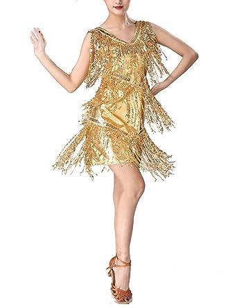 Qianliniuinc Vestido De Baile Latino con Lentejuelas para Mujer ...