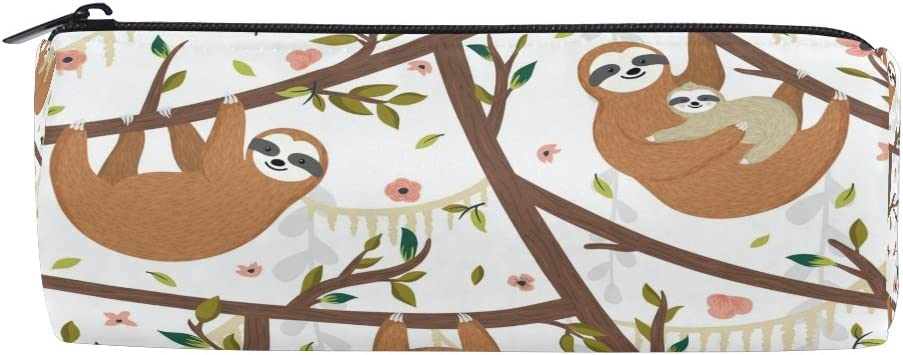KUWT Pencil Bag Cute Sloth Tree, Pencil Case Pen Zipper Bag Pouch Holder Makeup Brush Bag for School Work Office