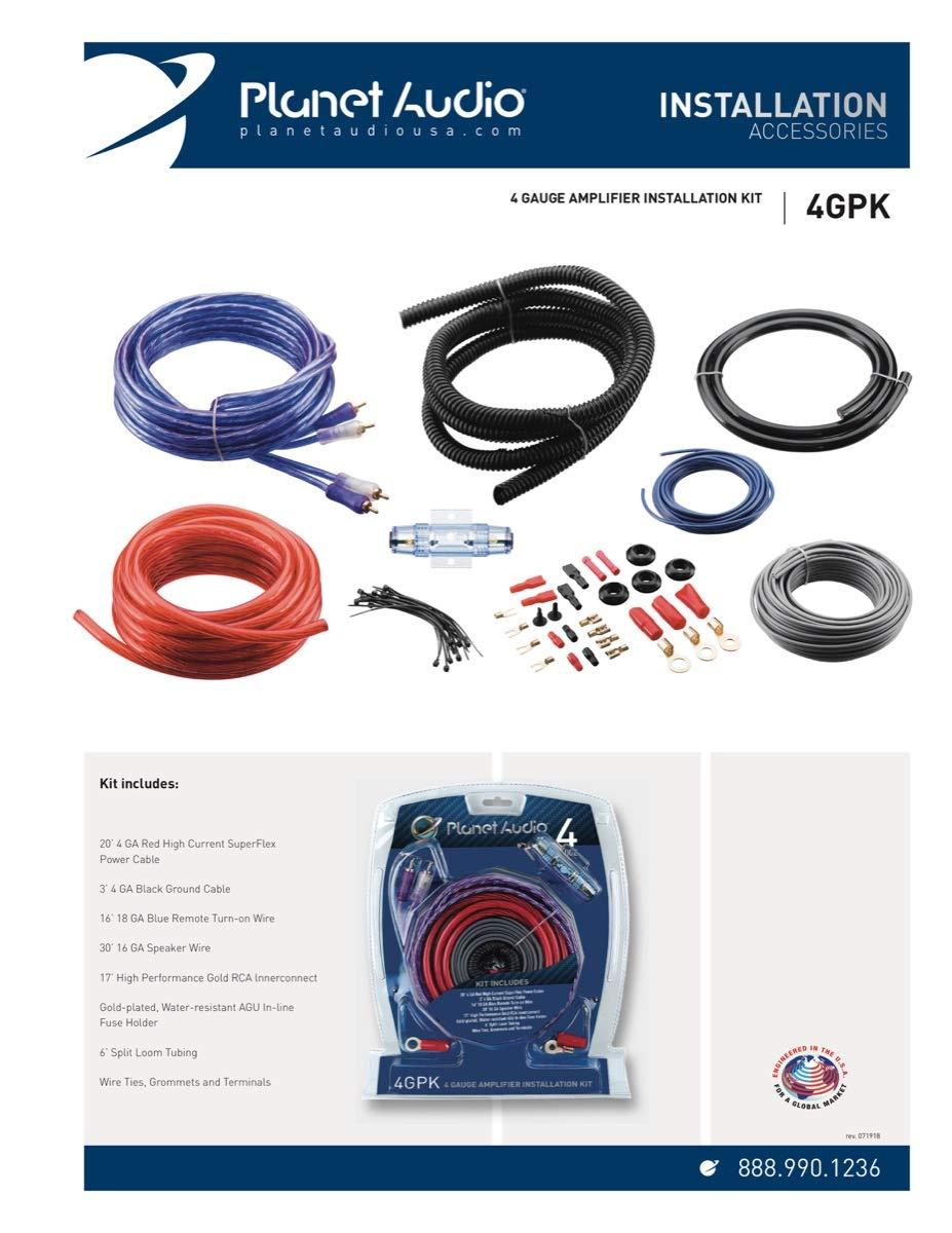 Planet Audio 4gpk 4 Gauge Amplifier Installation Wiring Kit Car Electronics