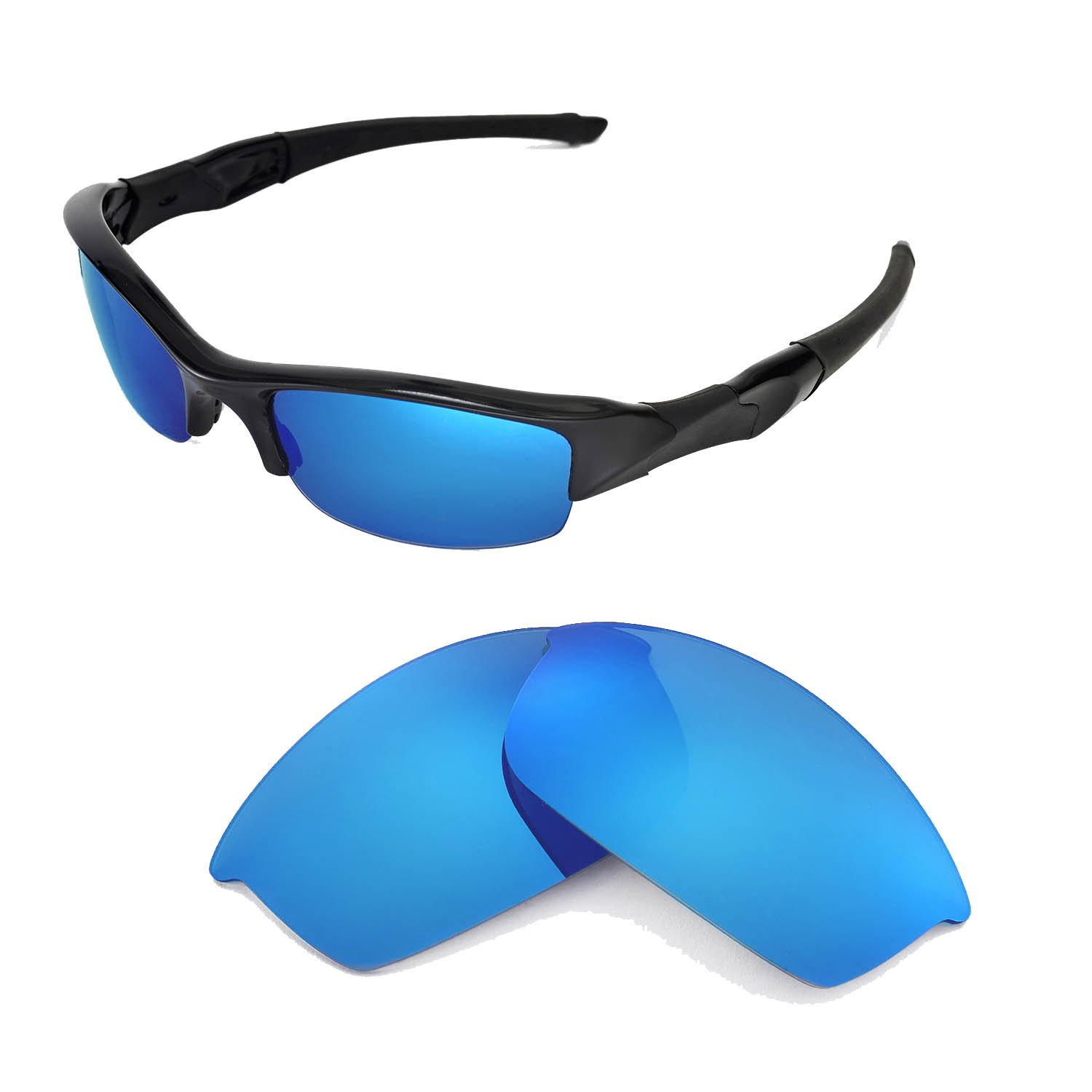 Walleva Polarized Ice Blue Replacement Lenses for Oakley Flak Jacket Sunglasses by Walleva
