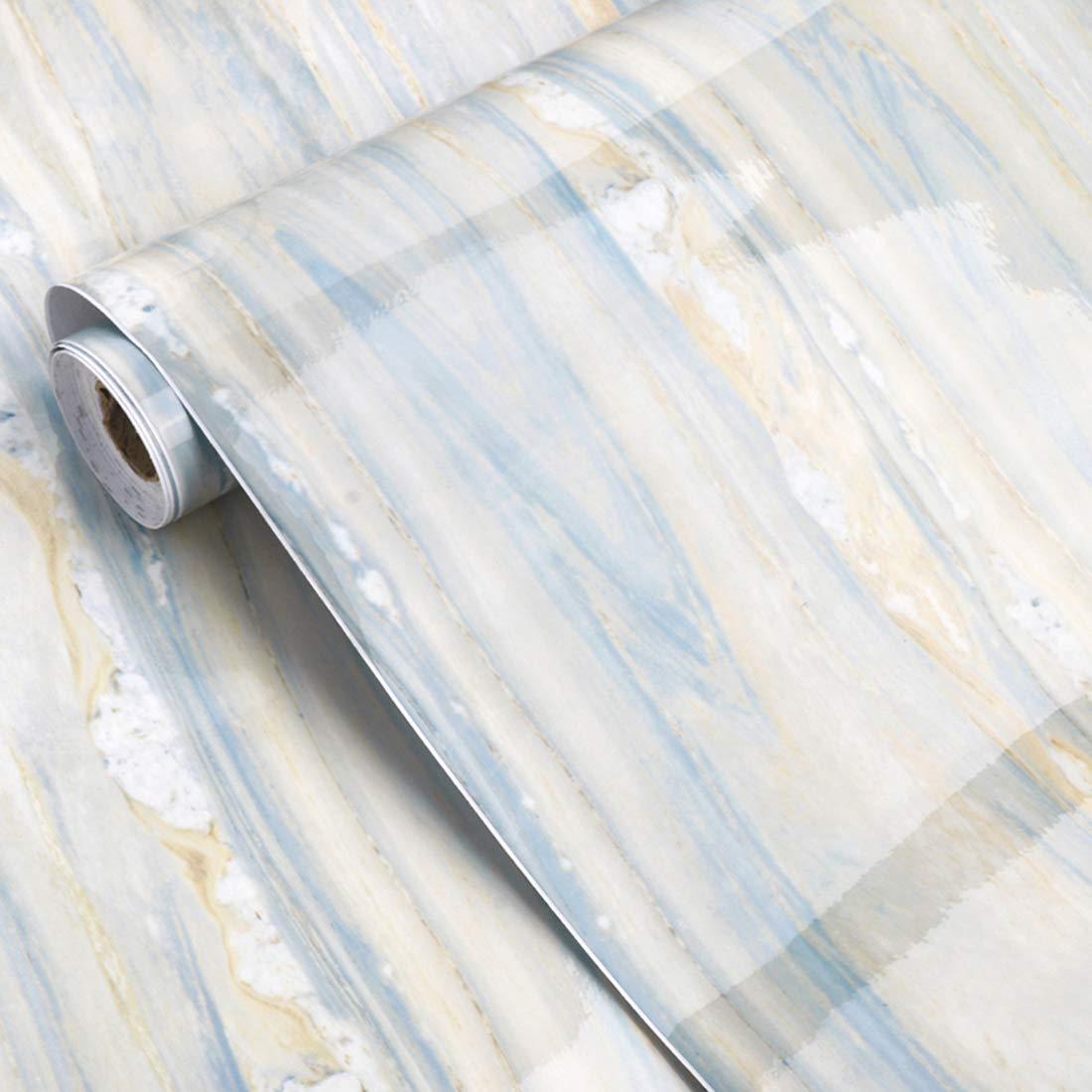 Glow4u - Papel de contacto con aspecto de granito de má rmol azul océ ano brillante, vinilo autoadhesivo, encimera de cocina, tablero trasero, estante de mesa, 24 por 196 pulgadas GL001