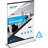 AdirOffice Table Card Display – Portrait Style Menu Ad Frame – Top Insert – Clear Acrylic (3 Pack, 5x7)