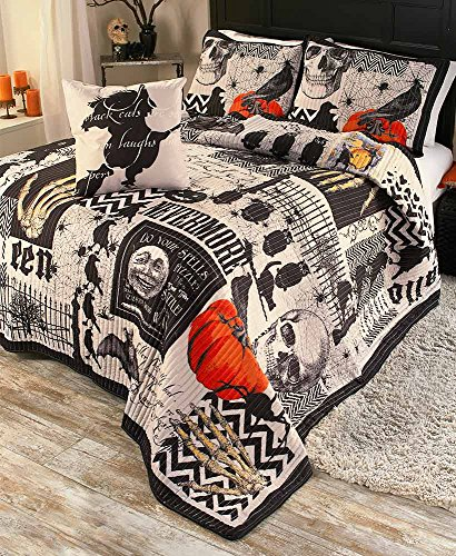 Halloween Bed Sheets (The Lakeside Collection Nevermore 4-Pc. Halloween Quilt Set -)