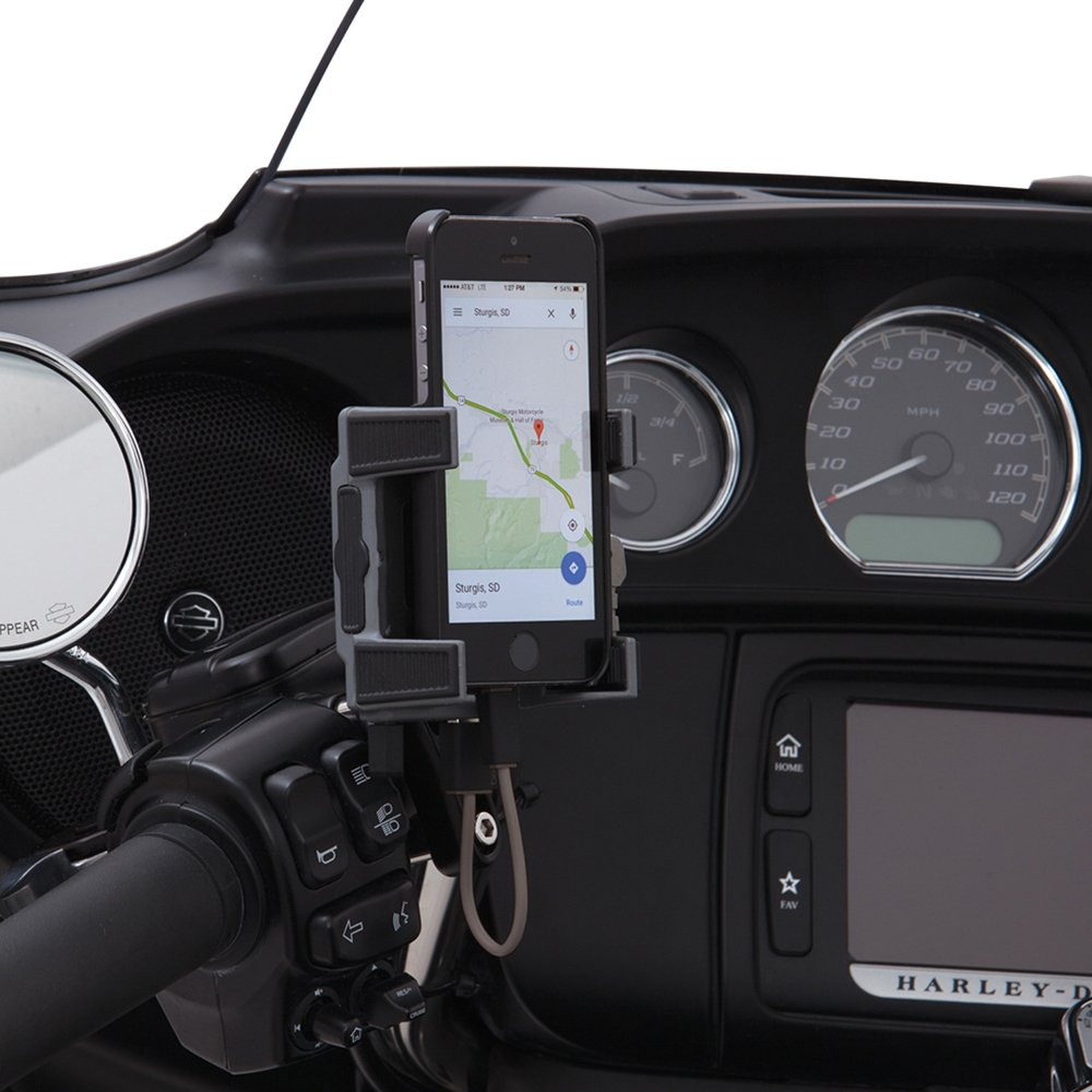 Ciro 50211 Smartphone/GPS Holder (Black Perch Mount With Charger For 1984-2016 Models (Excluding 2014-2016 Street Glide Models)) by Ciro
