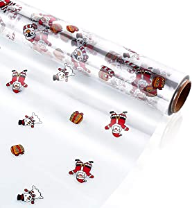 STOBOK Christmas Cellophane Wrap Roll   Santa Claus Pattern Paper Wrapper 15.7 inch x100 Ft,2.5 Mil,Crystal Long Film Gift Wrappings Packing Paper for Flowers,Basket,Food,Xmas Decor