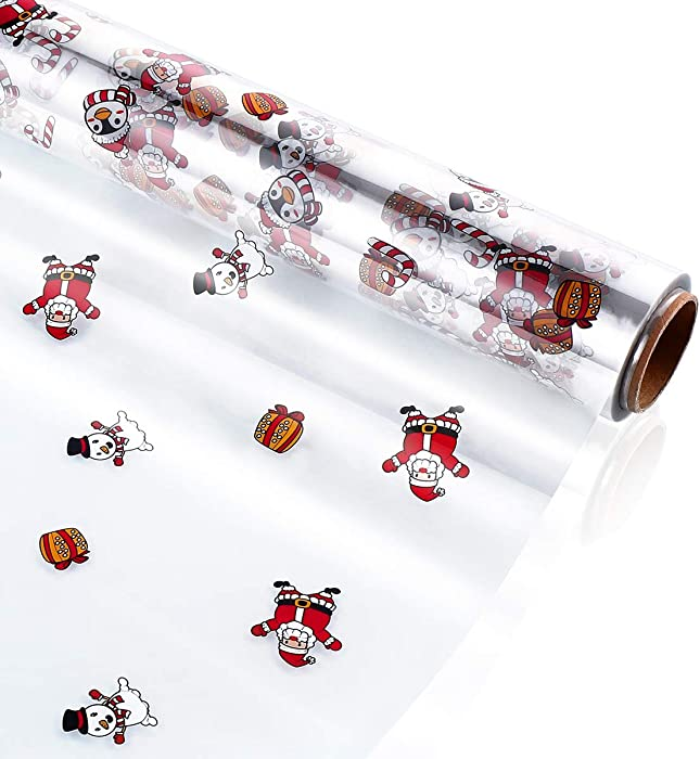 STOBOK Christmas Cellophane Wrap Roll | Santa Claus Pattern Paper Wrapper 15.7 inch x100 Ft,2.5 Mil,Crystal Long Film Gift Wrappings Packing Paper for Flowers,Basket,Food,Xmas Decor