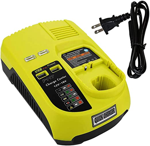 VINIDA P117 P118 Dual Chemistry IntelliPort Charger Li-ion & Ni-cad Ni-Mh Battery Charger 12V -18V For Ryobi ONE Plus (Battery Not Included, Charger ...