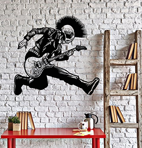 Vinyl Wall Decal Skeleton Punk Rock Musician Music Stickers (ig4239) Black