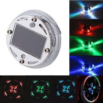 USUN 4 piezas Luces LED para ruedas coche Auto Energía Solar Power Flash rueda neumático válvula Caps luz de neón lámpara: Amazon.es: Coche y moto
