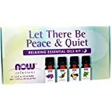 NOW Essential Oils, Let There Be Peace & Quiet Aromatherapy Kit, 4x 10ml Including Lavender Oil, Peppermint Oil…